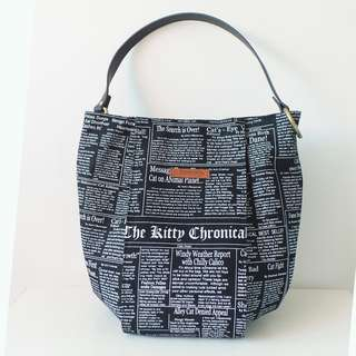 Modern Shoulder Bucket Bag - *Feline Newspaper*