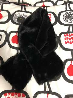 Black fur winter scarf