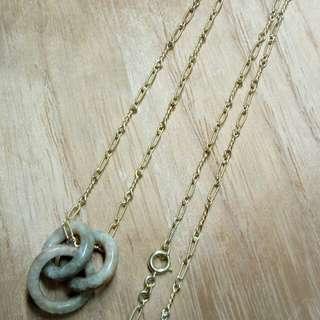 清代 - 玉石三環吊墜連精工銅頸鏈