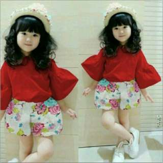 JY St Blossom Balon RED  Bahan baju katun poplin premium+clana balotely halus fit 3-5th