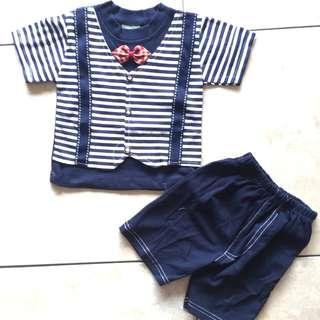 Ready! Setelan navy stripes