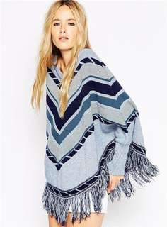 AO/TZC070623 - European Autumn Color Block Stripes Tassels Wraps Sweater
