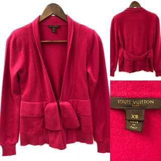 Lv louis vuitton burgandy cashmere knitted cardigan size XS