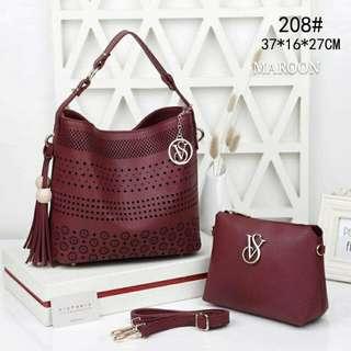 Victoria Secret Bucket bag 2 in 1 Maroon Color