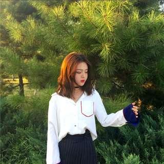 #808 designers minimalist contrast collar long sleeve polo blouse