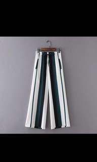 Drawstring Wide leg pants striped trousers