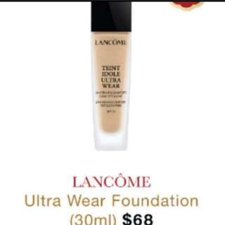 😘CRAZY $3.95 SALE😘 SWEAT PROOF, FULL COVERAGE ALL DAY LONG !❤️Lancome Ultra Wear Foundation, 5ml