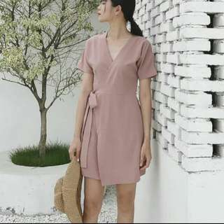 Formal Wrap Dress In Brown