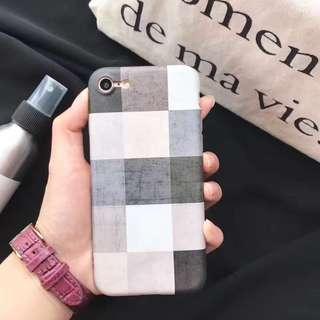 手機殼IPhone6/7/8/plus(沒有X) : 簡約氣質格子全包磨砂軟殼
