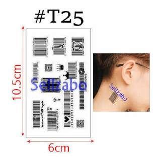 ✔$5 纹身粘纸 : Small Barcodes : Bar Codes : Can Remove Tattoo Stickers : Fake : Wash Off : Mens : Guys : Boys : Male : Body : Face : Skin : Black Colour : Stick : Paste : Tatoo : Tatto : 6cmx10.5cm : 6cm x 10.5cm