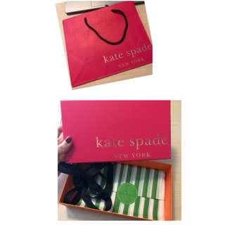 [只求快速賣出~] 全新 原價$80 Kate Spade 包裝盒 gift box 小禮盒 連紙袋 Paper bag