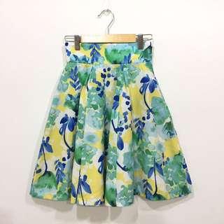 日系花樣腰鬆緊短裙