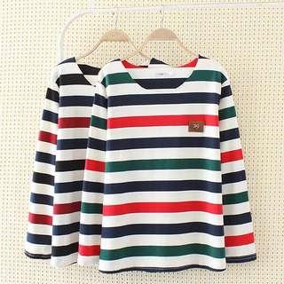 Spring Korean bottoming shirt round neck striped long-sleeved shirt T-shirt
