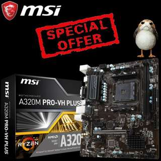 MSI A320M PRO-VH PLUS (AMD® A320 Chipset), (Special Offer till Mar 2018 Ends..)