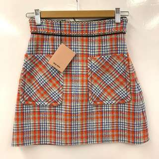 格仔短裙 Miu Miu orange and blue checkers skirt size 36