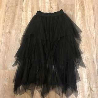 黑色 蓬蓬暗黑多層次紗裙