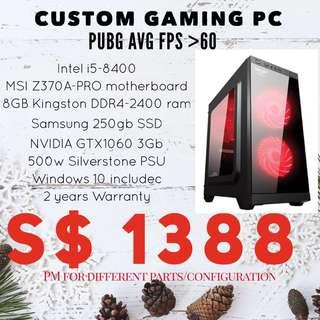 Custom Gaming PC intel i5 gtx 1060
