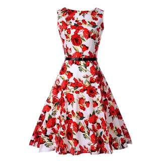 Floral Print Summer Vintage Dress - *White Red Rose* [VD-1004]