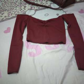 Maroon off shoulder crop top (new without tag)