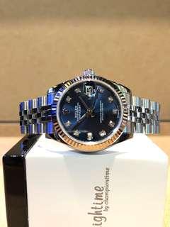 Authentic Rolex Oyster Datejust 178274 Blue Dial Automatic Steel Casing Bracelet