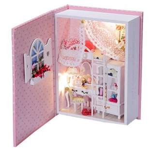 (Do-It-Yourself) Book Wooden Series with LED Lights -Pink Diary