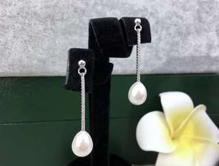天然珍珠 純銀925 CZ 鑽耳環