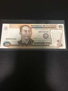Philippines 10 peso golden solid 111111