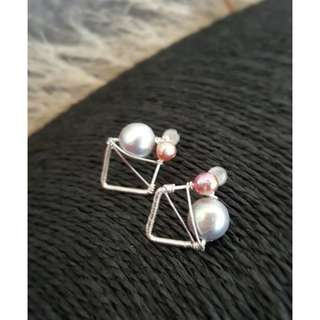 HANDMADE! Genuine Pearl Earrings 20086