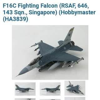 F-16C Falcon  RSAF 143 SQN 1/72 Scale  Die Cast Model Hobby Master Great For RSAF50 Collection