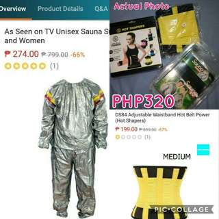 Sauna Suit Free Size and Hot Shaper Medium Size