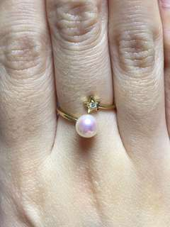 18K 天然鑽石akoya日本珍珠戒指