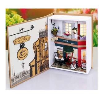 (Do-It-Yourself) Book Wooden Series with LED Lights -CAFE Diary