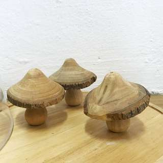 Set of 3 handmade Wooden mushrooms