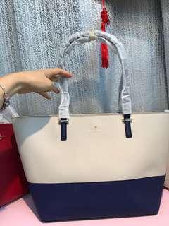 Kate Spade PXRU4545-2 紫/白色拼色皮革大手袋 清貨價