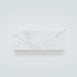 Rectangle Golden White Marble - Marmer - 25 x 10