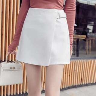 White Skinny High Waist Short A Skirt