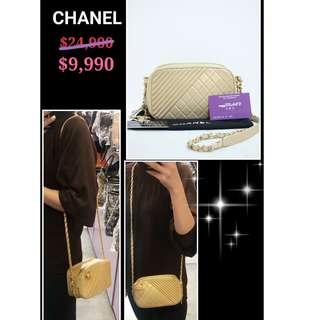 85% New Chanel A92655  金色 牛皮 CC Logo 金鏈 手提袋 肩背袋 手袋 Gold Calfskin CC Logo Handbag with Gold Hardware