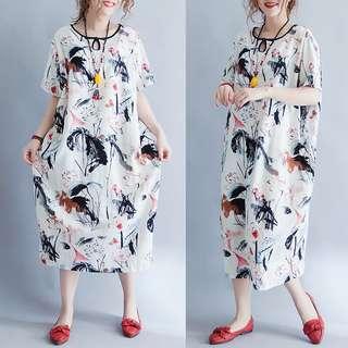 Plus Size Women's cotton lotus loose dress