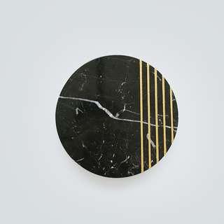 Round Golden Black Marble - Marmer - Diameter 20 cm