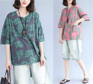 Plus Size Women's cotton print loose short-sleeved T-shirt female summer shirt