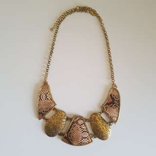 Gold Faux Leather Statement Necklace