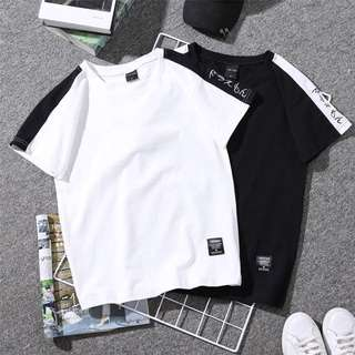 [PO] Loose neck short sleeve letter embroidery