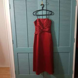 Red Strapless Ball Gown