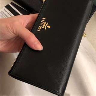 Prada Wallet 絕版 saffiano 黑金