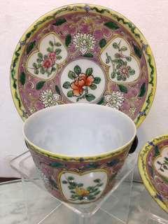 Porcelain-旧粉彩茶杯、托盘(1对)