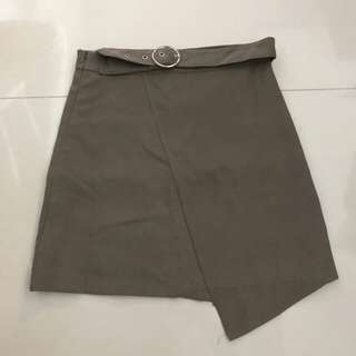 Suede Buckle Ring Highwaisted Overlap Skirt