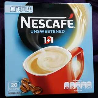 Nescafe 雀巢 1+1 即沖咖啡 無甜口味 一盒20小包 全新正版 (HKD$23/1盒,$45/2盒) 飲品 飲料 咖啡粉 Cafe Coffee