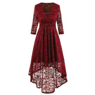 Vintage Lace V-Neck 3/4 Sleeves Empire Big Swing Party Dress (Red) {VD-1008]