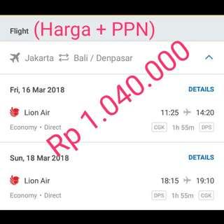 Tiket Pesawat Jakarta Bali (PP) 16-18 Maret 2018