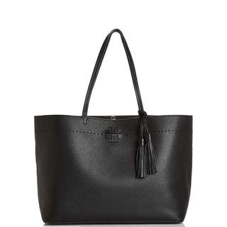 Tory Burch McGraw Pebbled Leather Tote Bag (Black)